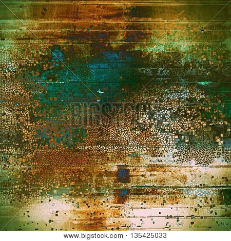 Vintage mottled frame, textured grunge background with different color patterns: yellow (beige); brown; green; blue; red (orange); cyan