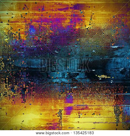 Vintage textured background with copy space. Old style backdrop with different color patterns: yellow (beige); brown; blue; red (orange); purple (violet); black