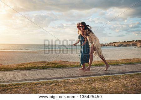Best Friends Walking On Pathway Along A Beach