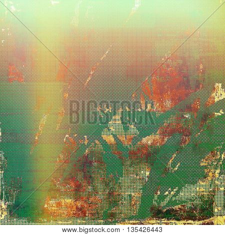 Aged grunge graphic background with shabby texture in vintage style and different color patterns: yellow (beige); brown; green; red (orange); pink