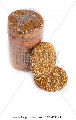 Pile oatmeal cookies on a white background