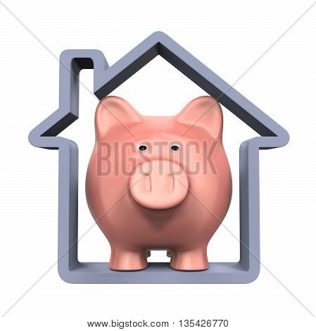 Piggy Bank and House Icon isolated on white background. 3D render