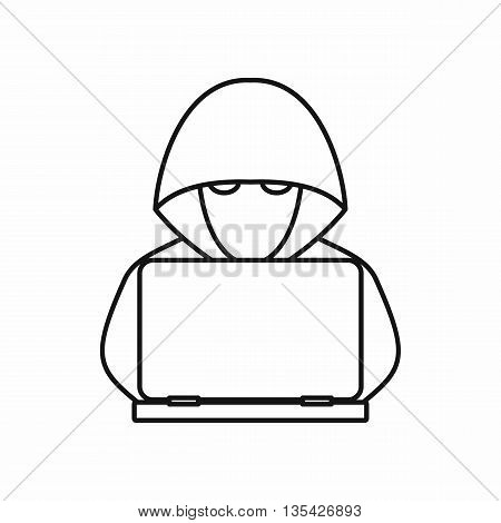 Computer hacker with laptop icon in outline style isolated on white background