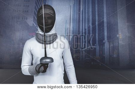 Man wearing fencing suit practicing with sword against urban projection on wall
