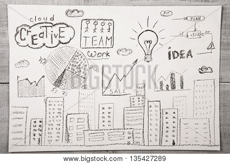 Hand Drawn Picture With City View, Diagrams And Plan Structure