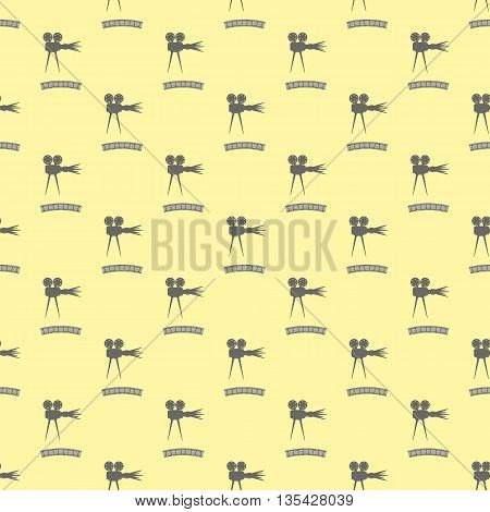 Seamless Retro Cinema Pattern. Old Movie Projector Film Strip Background