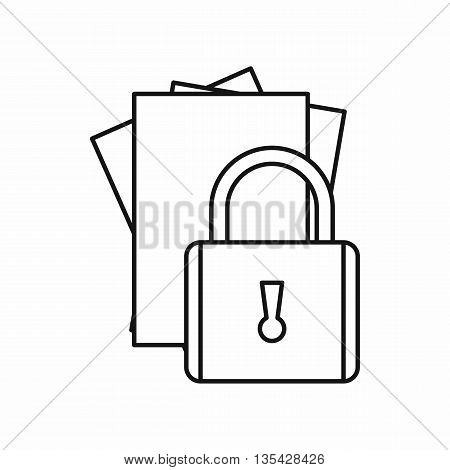Folders with padlock icon in outline style isolated on white background