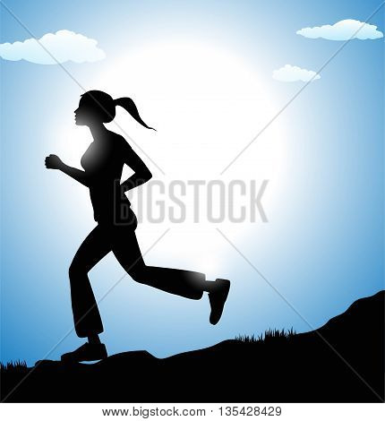vector illustration of woman silhoette running and sky in the background