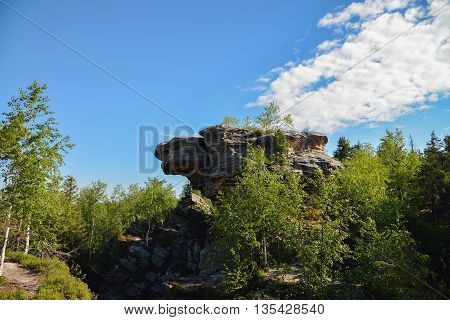Big rock with intresting shape , Ural, Stone City