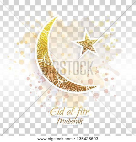 Eid al-fitr vector illustration on transparent background. Crescent and star. Yellow and brown design for the festival.