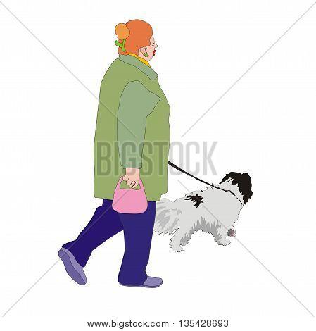 Illustration active pensioner woman walking her dog on a leash