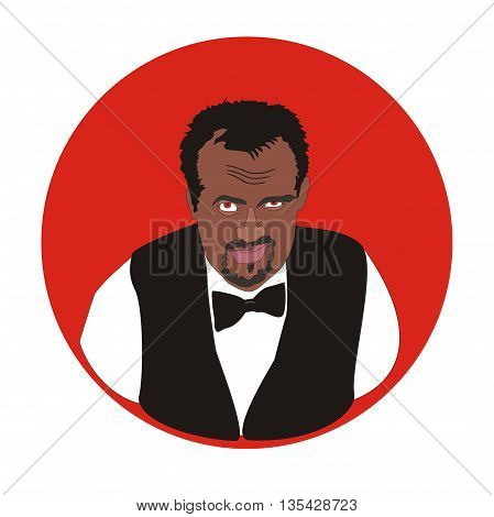 Illustration of angry boss sinister smiles with red eyes