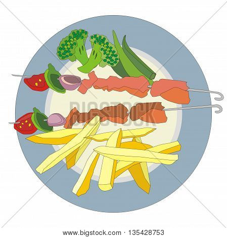Illustration serving kebabs on skewers with vegetables on a round plate