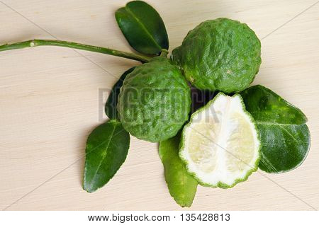 Bergamots (Other names are Citrus Kaffir lime Magnoliophyta Bergamot Rutaceae) fruits with leaf