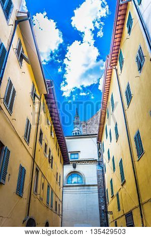 Urban colorful architecture in center of old town Florence, Tuscany Italy.