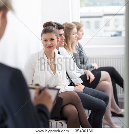 Picture presenting job interview in the corporation