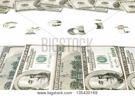 Word credit in the frame at the top and bottom of the dollar the view from the perspective isolated on white background