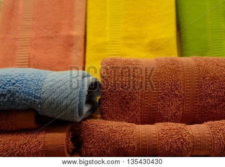 Colored terry wipe towels folded stack stock photo