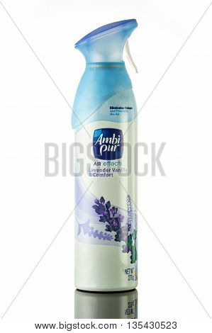 KUALA LUMPUR, MALAYSIA - JUNE 19,2016 : Ambi Pur air freshener with Lavender Vanilla and Comfort fragrance. A product by Procter & Gamble (P&G) available in United States Asia and Oceania.