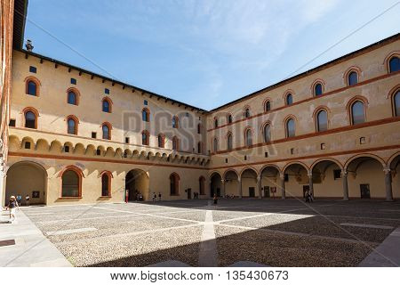 Milan Italy - May 04 2016: Exterior of museum in the Sforza Castle spring time