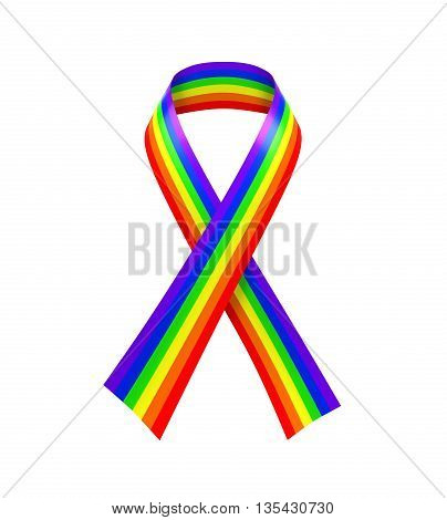 Rainbow Ribbon isolated on white background. 3D render