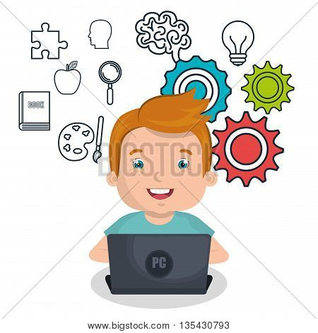 boy studying online isolated icon design, vector illustration  graphic