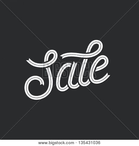 Sale. Ribbon script lettering, vector retro typographic design.