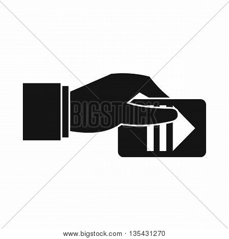 Hand with parking ticket icon in simple style isolated on white background