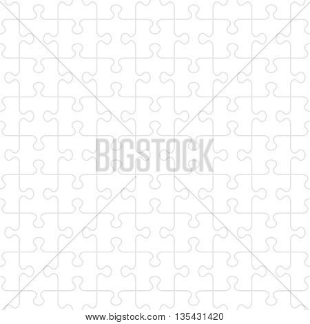 Seamless (you see 16 tiles) jigsaw puzzle pattern with transparent background and light gray guidelines