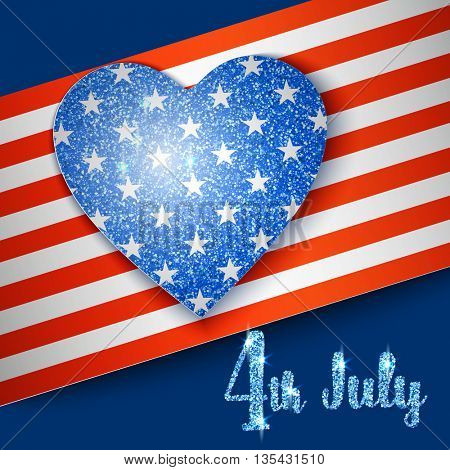 American Flag with heart for Independence Day design 4 july. Vector illustration.