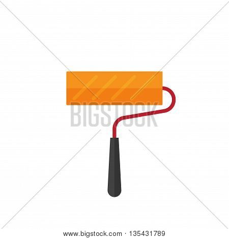 Orange paint roller icon isolated on white background vector illustration, clean paint roller