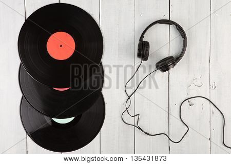 Vintage Record Lp And Headphones