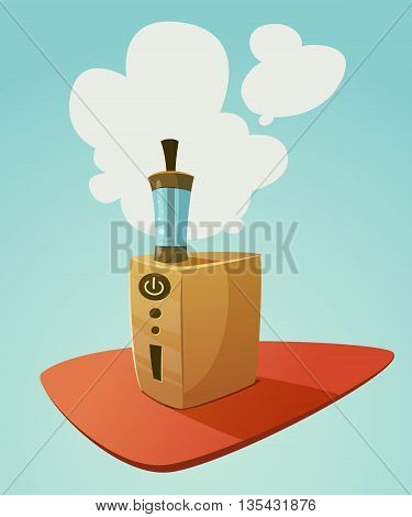 Vaping device mod with a cloud of vapor. Vector cartoon illustration for print and web. Stop smoking, start vaping.
