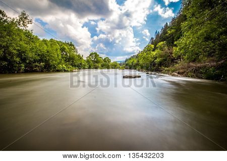 Wide Carpathian mountain river smoothly flowing between trees