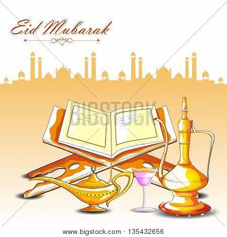 vector illustration of drink and beverage with Quran for Eid Mubarak Blessing for Eid background