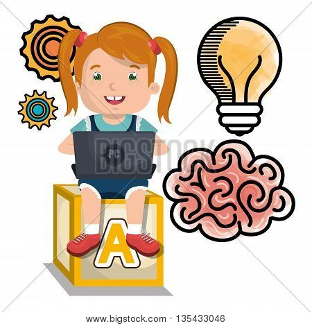 girl studying online isolated icon design, vector illustration  graphic