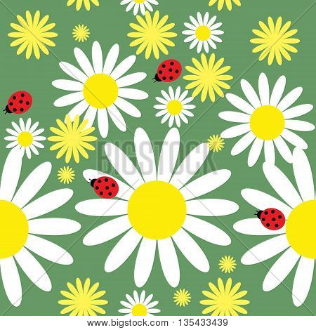 Seamless Texture With Daisies And Ladybug
