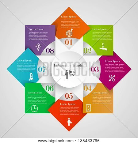 Infographic circle diamond flowchart template with 8 options, icons and text. Can be used for workflow layout, banner, chart, web design. Circle rhombus business concept