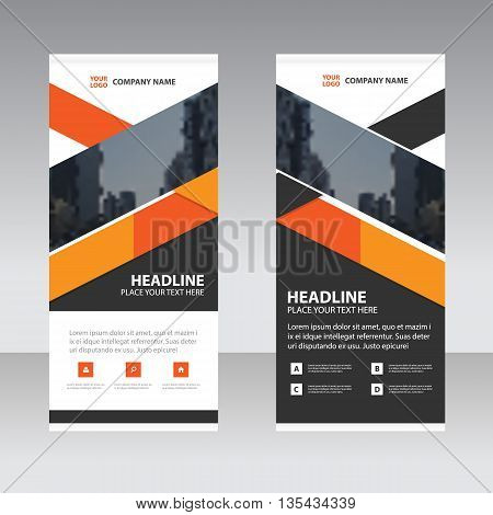 Orange black triangle Business Roll Up Banner flat design template Abstract Geometric banner template Vector illustration set abstract presentation template
