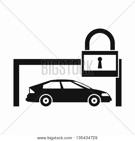 Car and padlock icon in simple style isolated on white background
