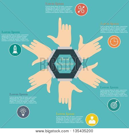 Hand infographic circle concept. Vector illustration of hands in the form of circle. Business concept with 6 options, parts or steps. Flat style