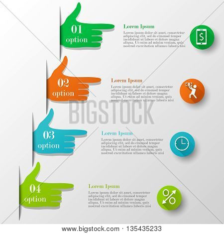 Business infographic hand-style concept. Template with 4 options or steps with text and icons. Can be used for workflow layout, banner, chart, web design. Business elements