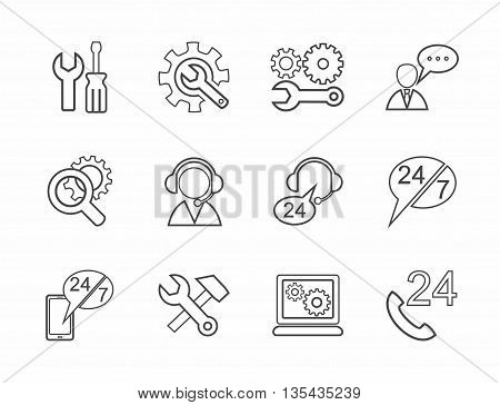 Vector linear icons of tools for repair and maintenance of electronics and equipment. Gray image on a white background.