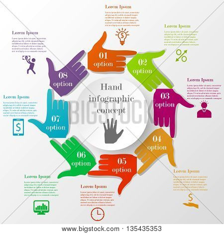 Hand-style infographic concept. Business circle template with colorful pointing hands. Business elements with 8 options or steps with icons and text