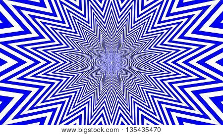 Blue and white hypnotic shape with optical effect