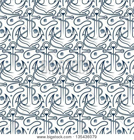 Seamless pattern for marine theme. With anchor rope and shell. Vector illustration
