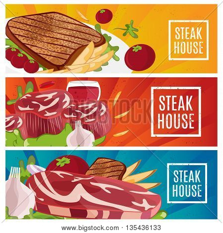 Set of banners for theme steak house with steak fries wine. Vector illustration