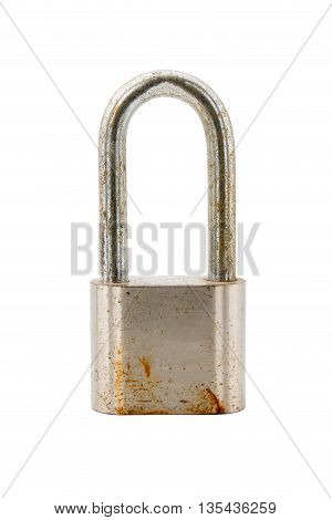 Rusty lock isolated on white background with clipping path.