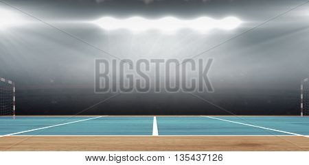 Composite image of a handball field in a sports hall