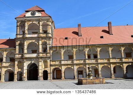 Castle courtyard Moravska Trebova, Czech Republic. Courtyard of the castle.